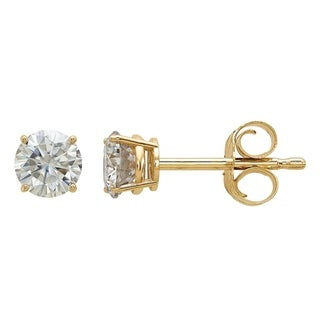 Moissanite 14K Yellow Gold 4.0mm Round 4-Prong Basket Post Earrings by Versil