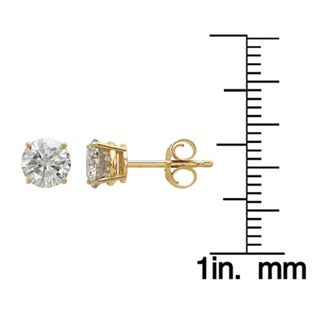 14 Karat Yellow Gold 5.0 mm Round True Light Moissanite 4-Prong Basket Post Earrings