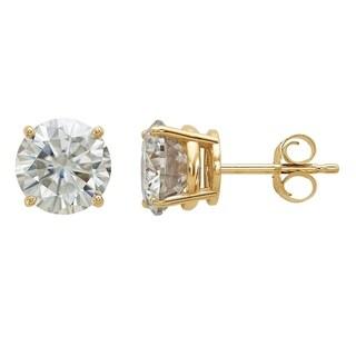 14 Karat Yellow Gold 7.0 mm Round True Light Moissanite 4-Prong Basket Post Earrings