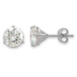 14 Karat White Gold 7.0 mm Round True Light Moissanite 3-Prong Martini Post Earrings