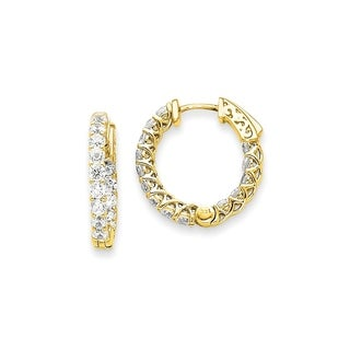 14 Karat Yellow Gold True Light Moissanite Round Hoop With Safety Clasp Mountings1.56 Carat Earrings