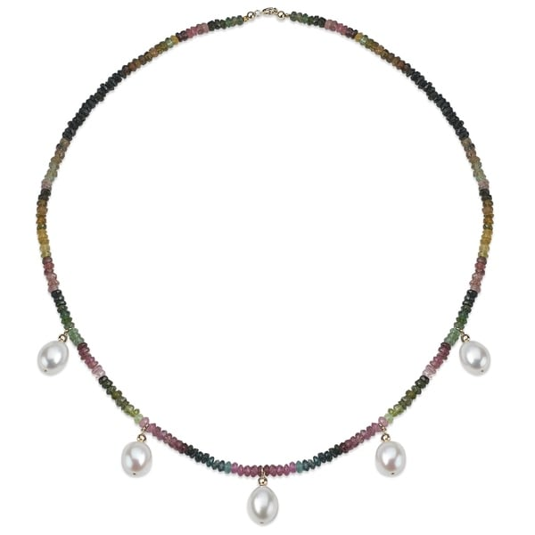 """PearlAura 14k Gold 10-11mm White Long Shape Freshwater Pearls and 2mm Round Faceted Multi Tourmaline Necklace 18"""""""