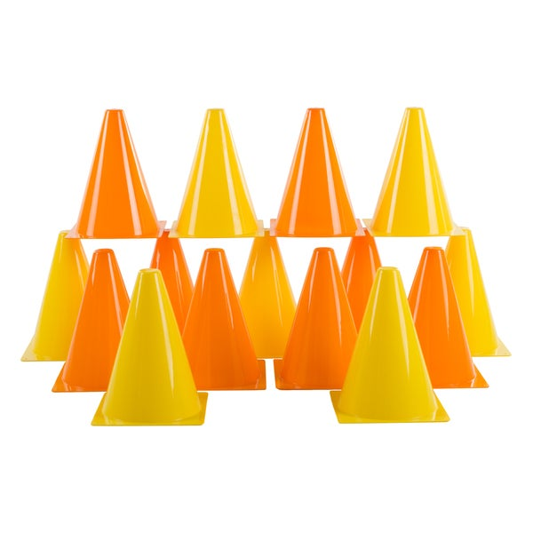 Traffic Safety Cones, Set of 15- Plastic, Colorful by Hey! Play!