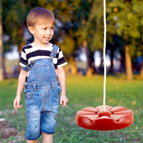 Disc Swing, Outdoor Plastic Round Seat with Adjustable Nylon Hanging Rope for Kids Playset Frame or Tree Hey! Play! (Red)