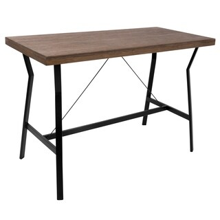 LumiSource Industrial Walnut Wood Top Counter Table