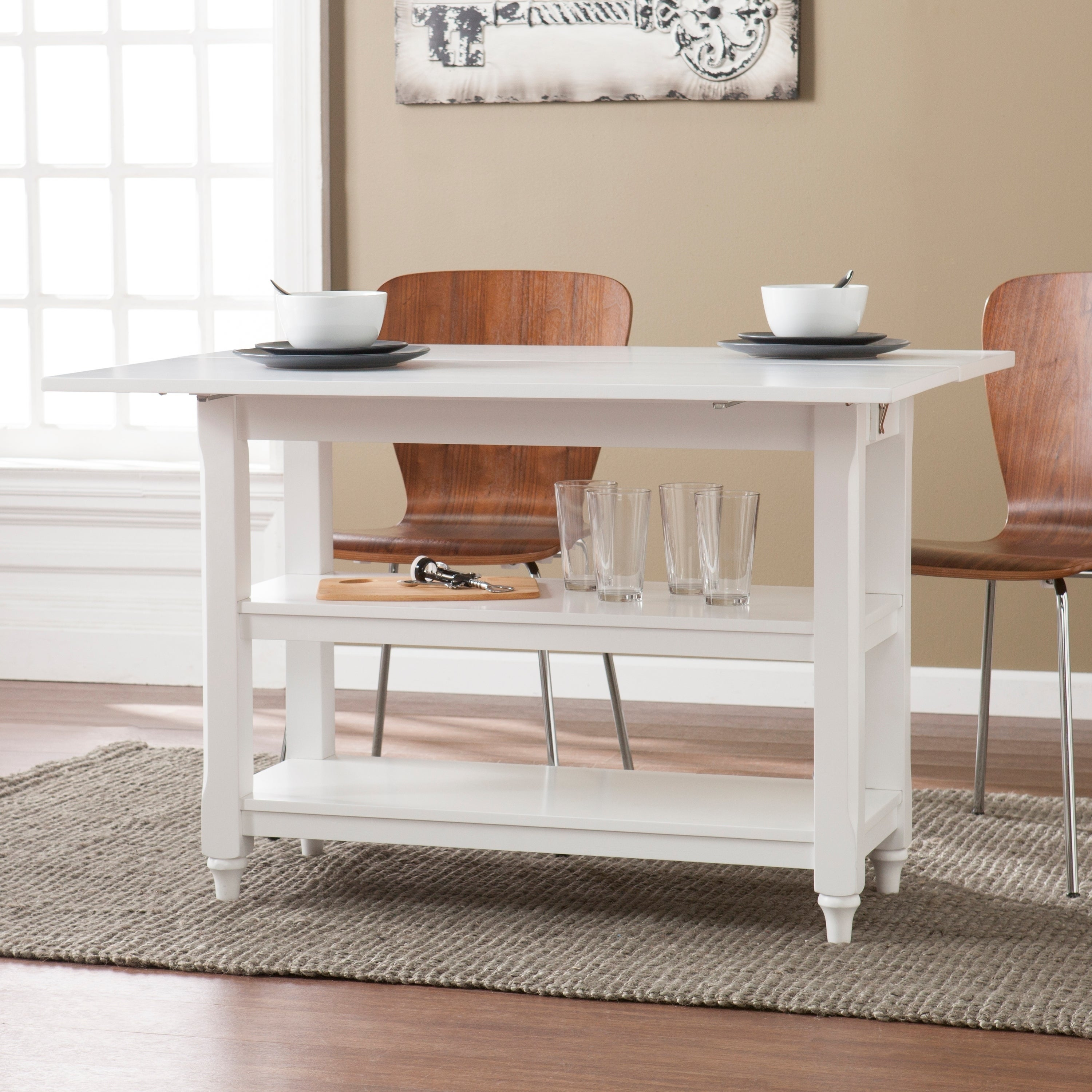 Harper Blvd Brushford White Convertible Console To Dining Table