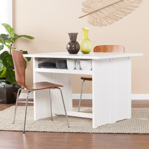 Kleberg White Convertible Console to Dining Table