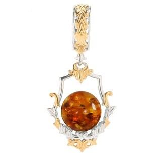 Michael Valitutti Palladium Silver Dyed Amber Bead Scrollwork Framed Drop Charm