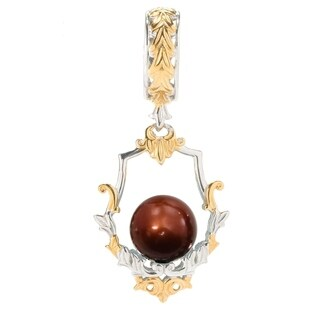 Michael Valitutti Palladium Silver Dyed Freshwater Pearl Bead Scrollwork Framed Drop Charm
