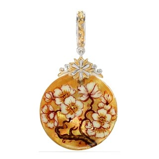 """Michael Valitutti Palladium Silver Hand Painted Mother of Pearl Shell """"Flowers"""" Christmas Drop Charm"""