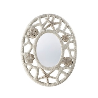 "Seahaven Oval Beach Shell Mirror 24"" wide - Antique White"