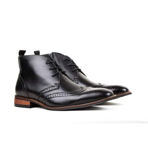Gino Vitale Men's Wing Tip Brogue Boots