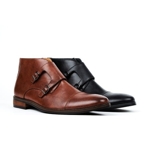 Gino Vitale Men's Double Monk Strap Cap Toe Dress Boots