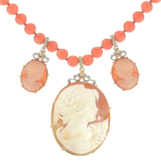 Michael Valitutti Palladium Silver Carved Shell Lady Cameo Salmon Coral Bead Necklace