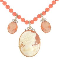 Michael Valitutti Palladium Silver Carved Shell Lady Cameo & Salmon Coral Bead Necklace