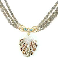 Michael Valitutti Palladium Silver Shell, Swiss Blue Topaz & Labradorite Beaded Toggle Necklace