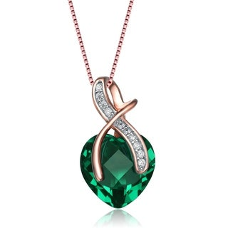 Collette Z White and Green Heart Shaped Cubic Zirconia Rose Gold Plated Sterling Silver Pendant