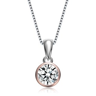 Collette Z Clear Cubic Zirconia Circular Shaped Rose Gold Plated Sterling Silver Clear Cubic Zirconia Pendant