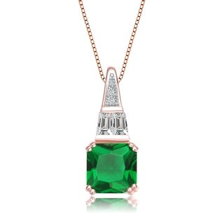 Collette Z Rose Gold Plated Square Green Cubic Zirconia Pendant Necklace