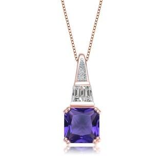 Collette Z Rose Gold Plated Square Purple Cubic Zirconia Pendant Necklace