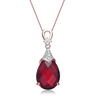 Collette Z White and Red Cubic Zirconia Rose Gold Plated Sterling Silver Necklace
