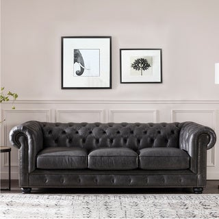 Link to Copper Grove Chipata Chesterfield Grey Italian Leather Sofa Similar Items in Living Room Chairs