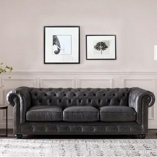Kensington Grey Italian Leather Chesterfield Upholstered Sofa