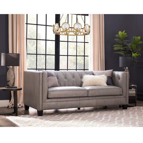 Gracewood Hollow Wakatsuki Light Grey Italian Leather Sofa