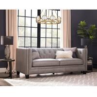 Madison Dove Grey Italian Leather Upholstered Sofa