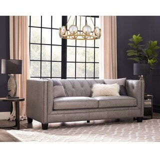 Madison Dove Grey Italian Leather Upholstered Sofa
