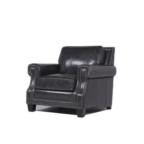 Copper Grove Mong Charcoal Leather Chair