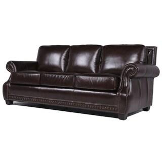 Cambridge Chocolate Leather Upholstered Sofa