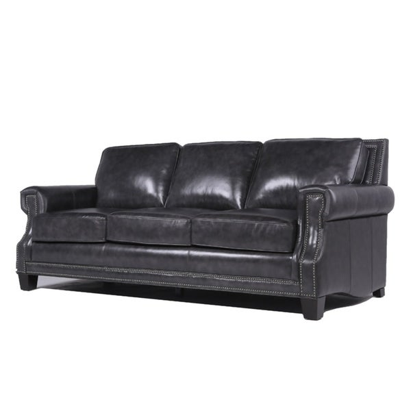 Shop Barrister Charcoal Italian Leather Upholstered Sofa