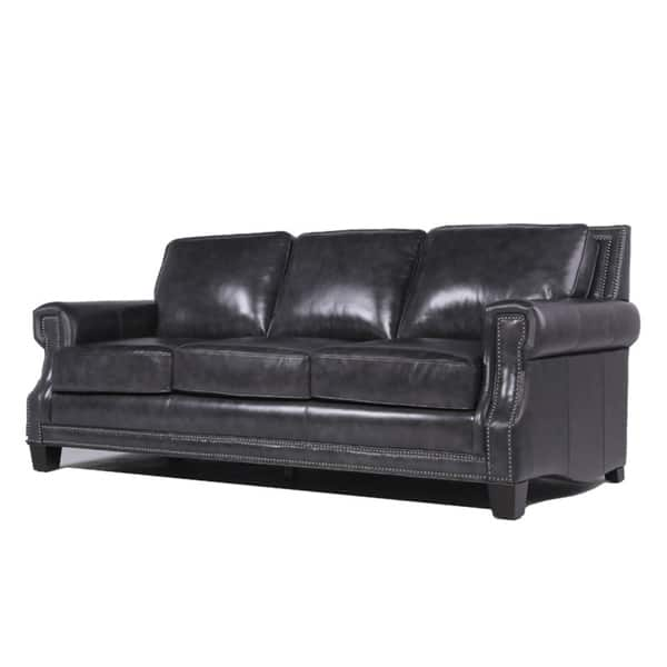 Copper Grove Mong Charcoal Leather Sofa