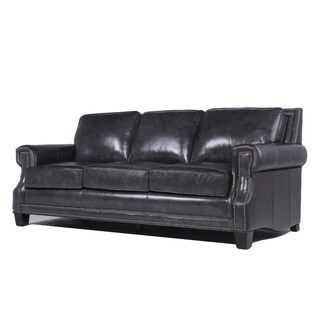 Barrister Charcoal Italian Leather Upholstered Sofa