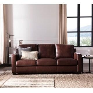 Austin Chestnut Brown Leather Upholstered Sofa