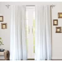 DriftAway Hayden Chevron White Voile Sheer Window Curtain Panel Pair