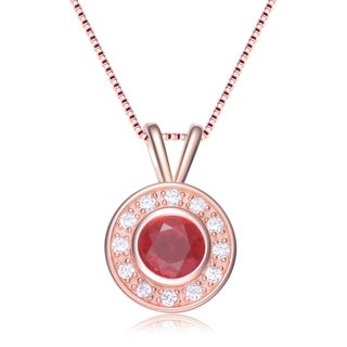 Collette Z White and Red Cubic Zirconia Rose Gold Plated Sterling Silver Pendant