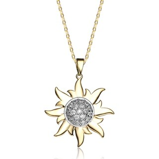 Collette Z Yellow Gold Plated White Cubic Zirconia Sun Shaped Pendant Necklace