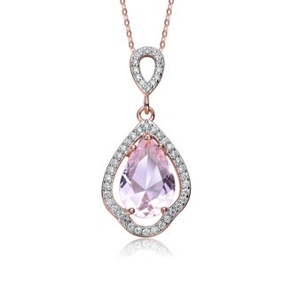 Collette Z Rose Gold Plated Pear Shaped Light Purple Cubic Zirconia Pendant