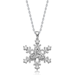Collette Z Sterling Silver White Cubic Ziconia Snowflake Shaped Pendant Necklace