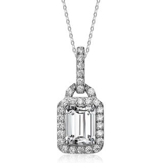 Collette Z Sterling Silver White Cubic Zirconia Padlock Shaped Pendant Necklace