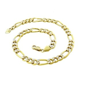 Pori Jewelers 14K Yellow Gold 6.7mm Hollow PAVE Figaro Link Chain Bracelet