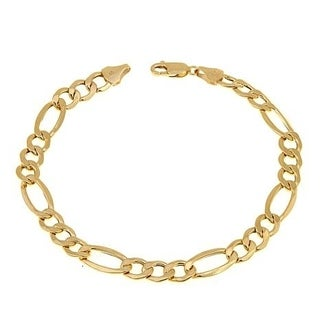 Pori Jewelers 14K Yellow Gold 1.7mm Hollow Figaro Link Chain Bracelet