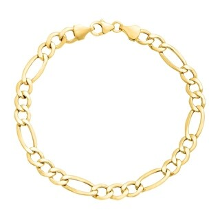 Pori Jewelers 14K Yellow Gold 3.1mm Hollow Figaro Link Chain Bracelet