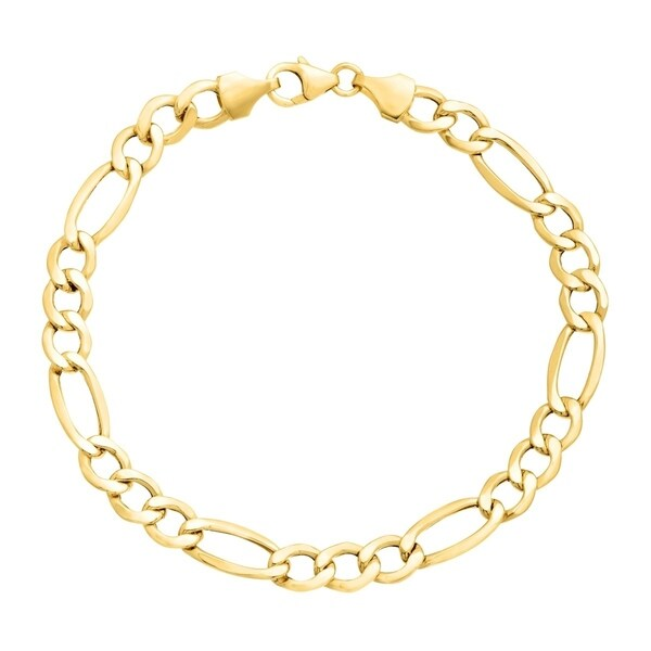 8c02ad4c8 Pori Jewelers 14K Yellow Gold 3.1mm Hollow Figaro Link Chain Bracelet