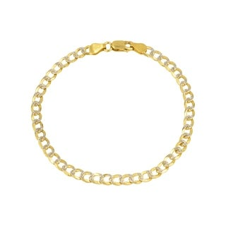 Pori Jewelers 14K Yellow Gold 2mm Hollow PAVE Cuban Link Chain Bracelet