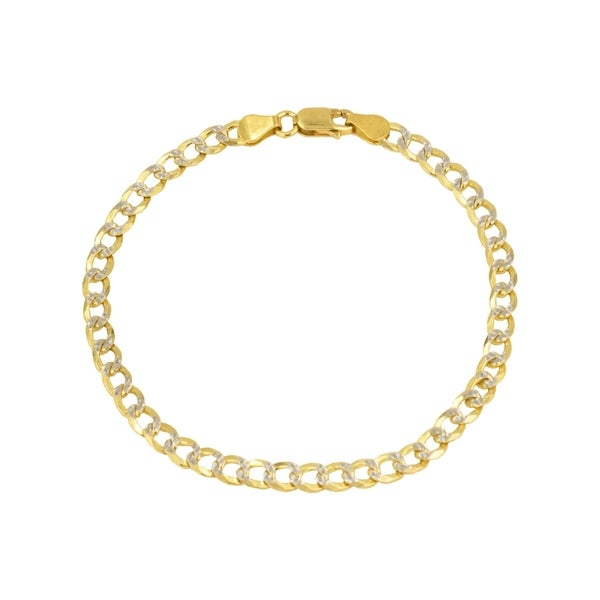 23a032338 Pori Jewelers 14K Yellow Gold 2mm Hollow PAVE Cuban Link Chain Bracelet