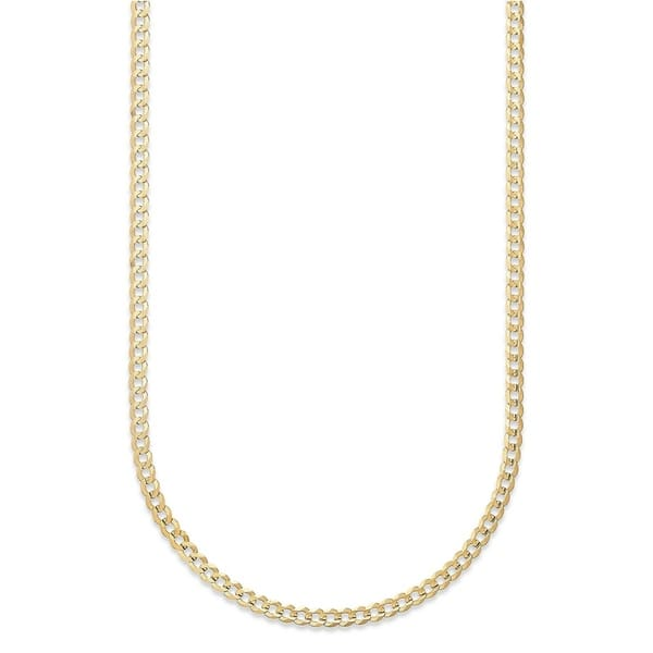 104db3c37 Pori Jewelers 14K Yellow Gold 2.3mm Hollow Cuban Link Chain necklace