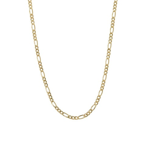 Pori Jewelers 14K Yellow Gold 4-millimeter Hollow Figaro Link Chain Necklace